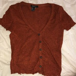 Forever 21 Rust Button Top